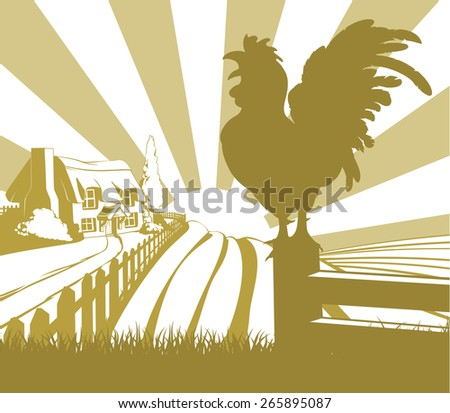 An illustration of a farm house thatched cottage in an idyllic landscape of rolling hills with a cockerel crowing in silhouette standing in the foreground - stock vector