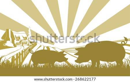 An illustration of a farm house thatched cottage in an idyllic landscape of rolling hills with two pigs in silhouette standing in the foreground - stock vector