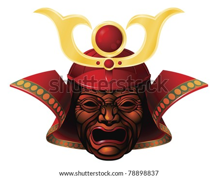An illustration of a fearsome red and yellow samurai mask - stock vector