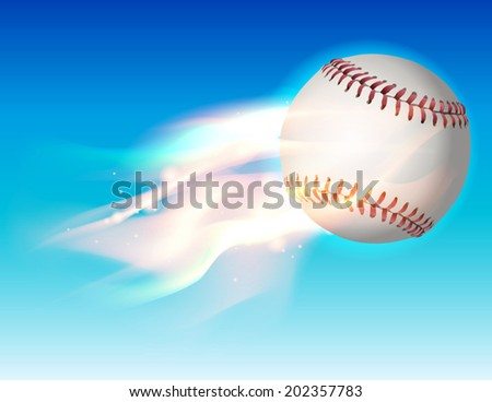 An illustration of a flaming baseball flying through the sky. Vector EPS contains transparencies and gradient mesh. - stock vector