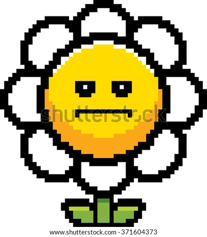 An illustration of a flower looking serious in an 8-bit cartoon style. - stock vector