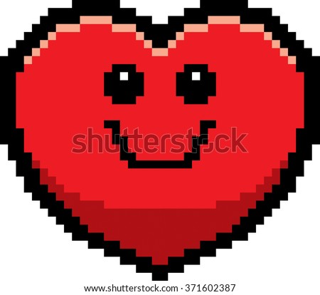 An illustration of a ghost smiling in an 8-bit cartoon style. - stock vector