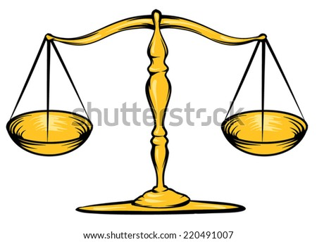 An Illustration of a gold scale, law - stock vector