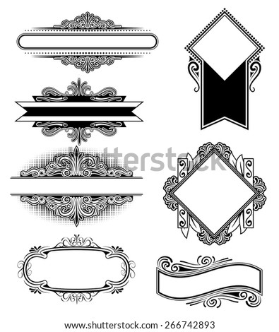 An Illustration of a group of Vintage floral frames - stock vector