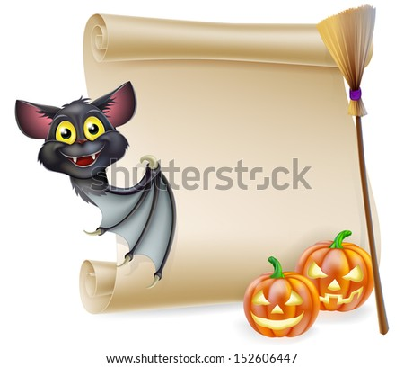 An illustration of a Halloween scroll with space for your message and witches cats and broomstick and cartoon bat - stock vector