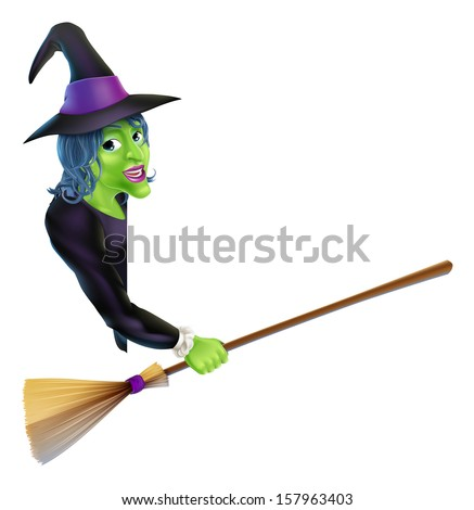 An illustration of a Halloween witch leaning round a banner or sign and pointing with her broom - stock vector