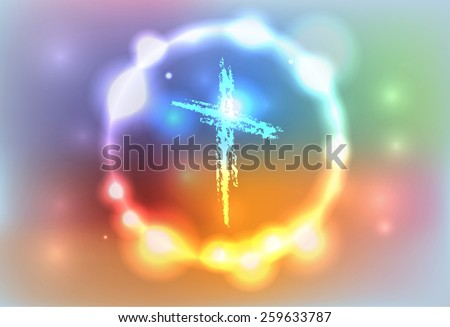 An illustration of a hand drawn cross surrounded by an abstract glowing background. Vector EPS 10. EPS file contains transparencies and a gradient mesh. - stock vector