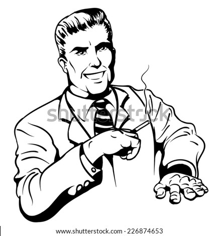 An Illustration of a handsome retro smoking man - stock vector