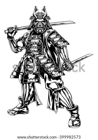 An illustration of a Japanese samurai warrior holding two swords - stock vector