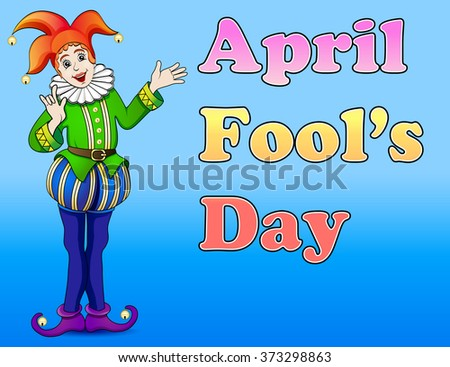 An illustration of a jester April Fool's Day - stock vector