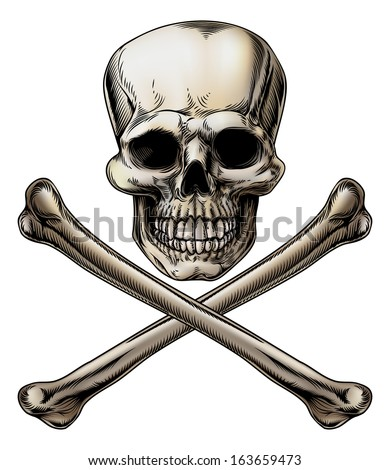 An illustration of a Jolly Roger or poison skull and crossbones sign - stock vector