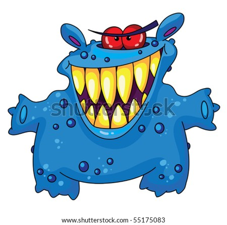 An illustration of a laughing monster - stock vector