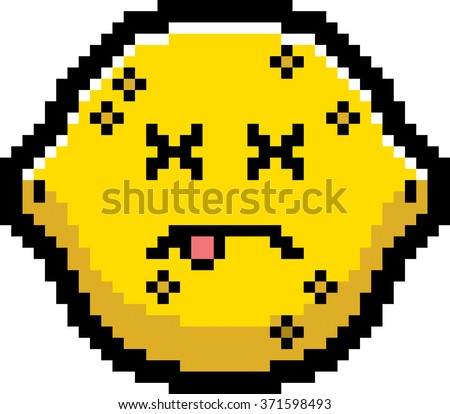 An illustration of a lemon looking dead in an 8-bit cartoon style. - stock vector