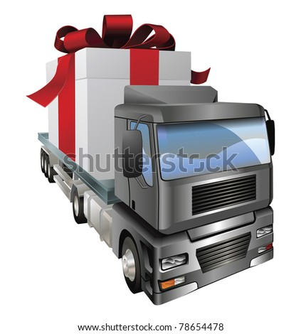 An illustration of a lorry truck carrying a giant gift - stock vector