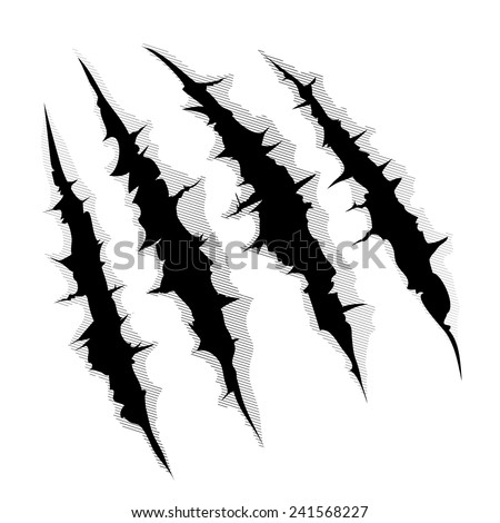 An illustration of a monster claw or hand scratch or rip through white background - stock vector