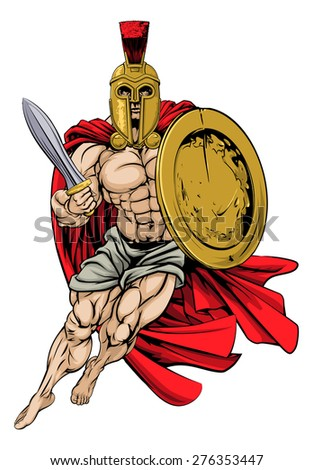 An illustration of a muscular strong Trojan or Spartan - stock vector