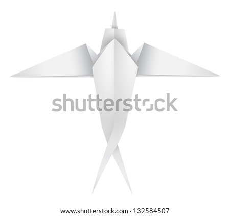 An illustration of a paper origami swallow. - stock vector