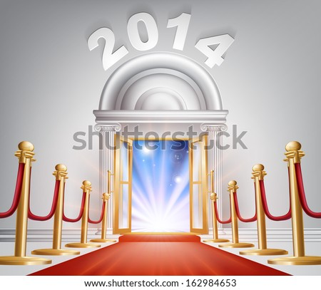 An illustration of a posh looking door with red carpet and the numbers 2014 above it. A New Year concept for success in the year 2014 or hope for a happy future. - stock vector