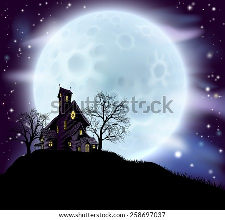 An illustration of a scary Halloween haunted house in silhouette with spooky trees - stock vector