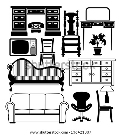 An illustration of a set of black and white furniture graphics - stock vector