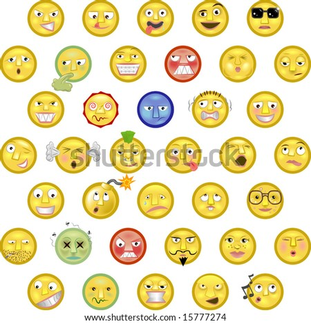 An illustration of a set of emoticon smileys - stock vector