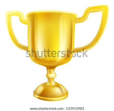 An illustration of a shiny gold winners first place trophy - stock vector