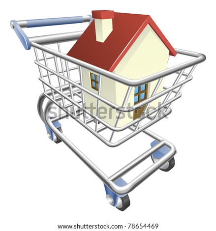 An illustration of a shopping cart trolley with house - stock vector