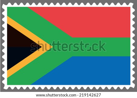 An Illustration of a Stamp with the Flag of South Africa - stock vector