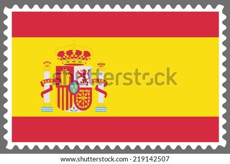 An Illustration of a Stamp with the Flag of Spain - stock vector