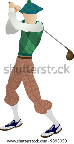 An illustration of a stylised classic golfer teeing off - stock vector