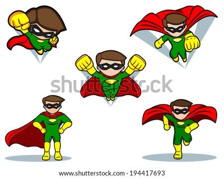 An illustration of a Superhero Set - stock vector