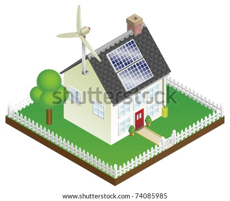 An illustration of a sustainable renewable energy house with solar panels and wind turbine - stock vector