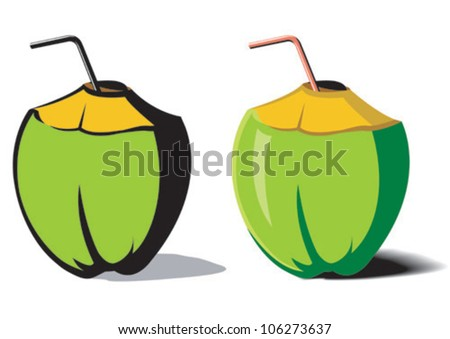 An illustration of a tender coconut - stock vector