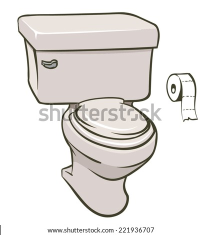 An Illustration of a toilet and a roll of tissue - stock vector