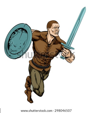An illustration of a tough looking Warrior running with sword and shield - stock vector