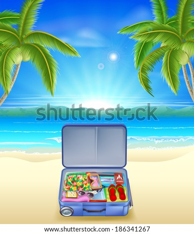 An illustration of a tourists suitcase on a tropical beach with coconut palm trees - stock vector