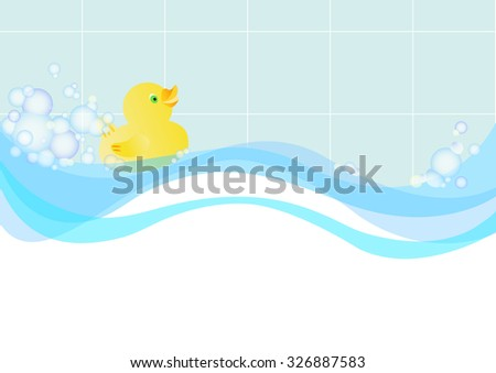 An illustration of a toy rubber duck, floating on the water among the soap foam. Place for text. - stock vector