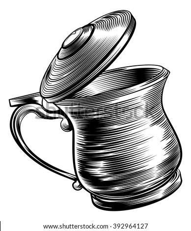 An illustration of a traditional beer stein or tankard in a woodcut style - stock vector