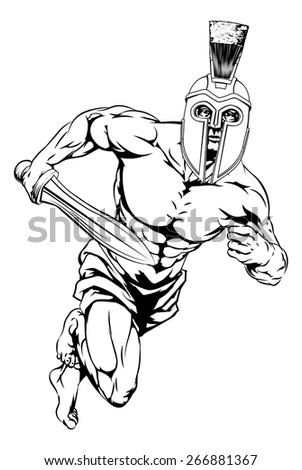 An illustration of a warrior or gladiator character or sports mascot  in a trojan or Spartan style helmet holding a sword - stock vector