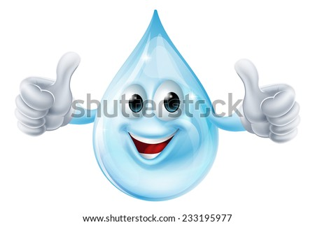 An illustration of a water drop character giving a thumbs up - stock vector