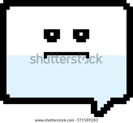 An illustration of a word balloon looking serious in an 8-bit cartoon style. - stock vector