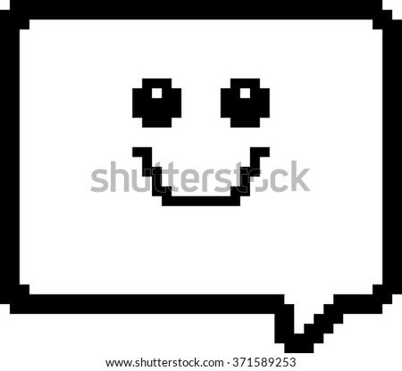 An illustration of a word balloon smiling in an 8-bit cartoon style. - stock vector