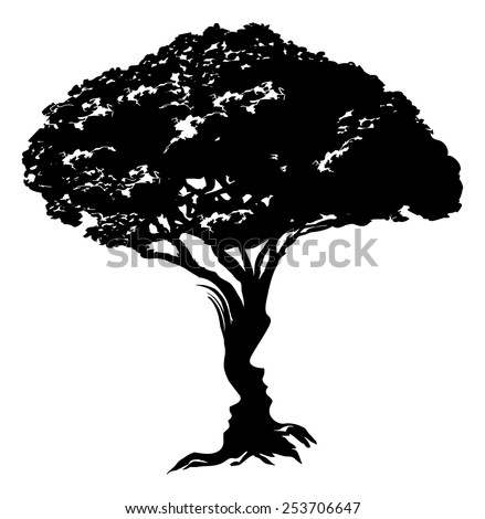 An illustration of an abstract tree optical illusion formed from a man and womans face concept design - stock vector