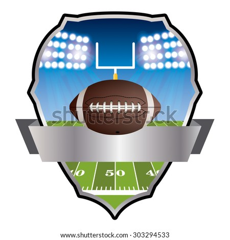 An illustration of an American football field and ball and badge. Vector EPS 10 available. EPS file contains transparencies and gradient mesh. - stock vector