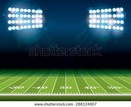 An illustration of an American Football field with bright stadium lights shining on it. Vector EPS 10. Room for copy. - stock vector