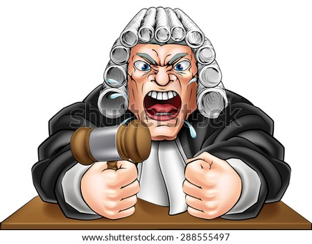 An illustration of an angry judge cartoon character - stock vector