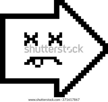 An illustration of an arrow looking dead in an 8-bit cartoon style. - stock vector