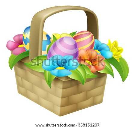 An illustration of an Easter egg basket hamper with flowers - stock vector
