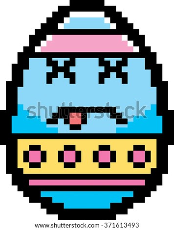 An illustration of an Easter egg looking dead in an 8-bit cartoon style. - stock vector