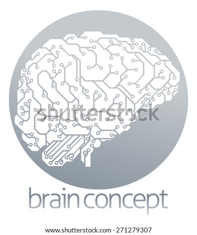 An illustration of an electrical circuit board brain in profile, artificial intelligence science circle concept design - stock vector
